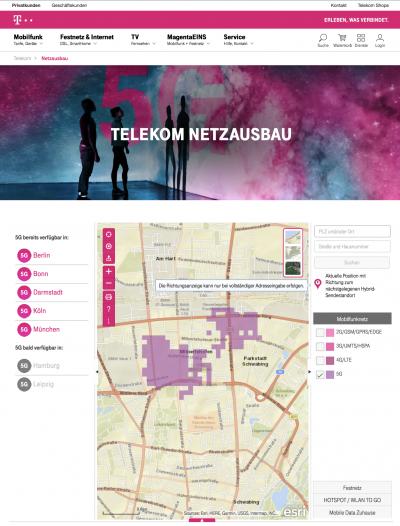 In der Netzausbaukarte können Kunden genau die Versorgungsgebiete ablesen. (Bildquelle: Deutsche Telekom)