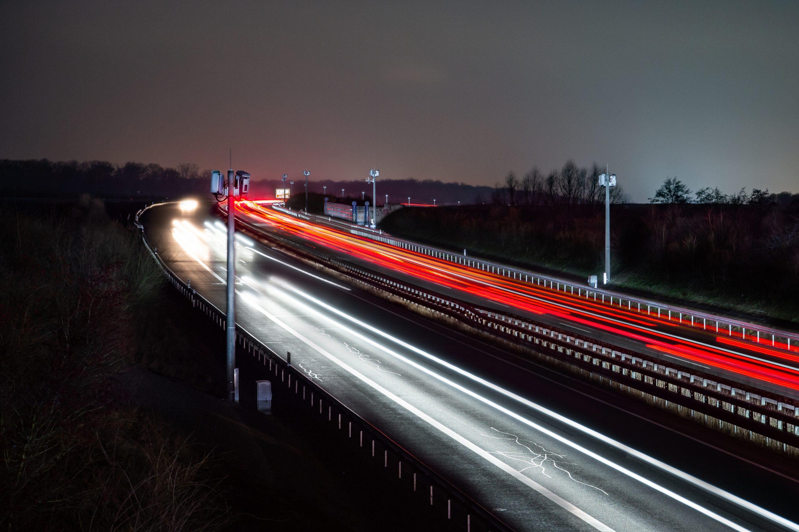 A39 und das Testfeld Niedersachsen bei Nacht