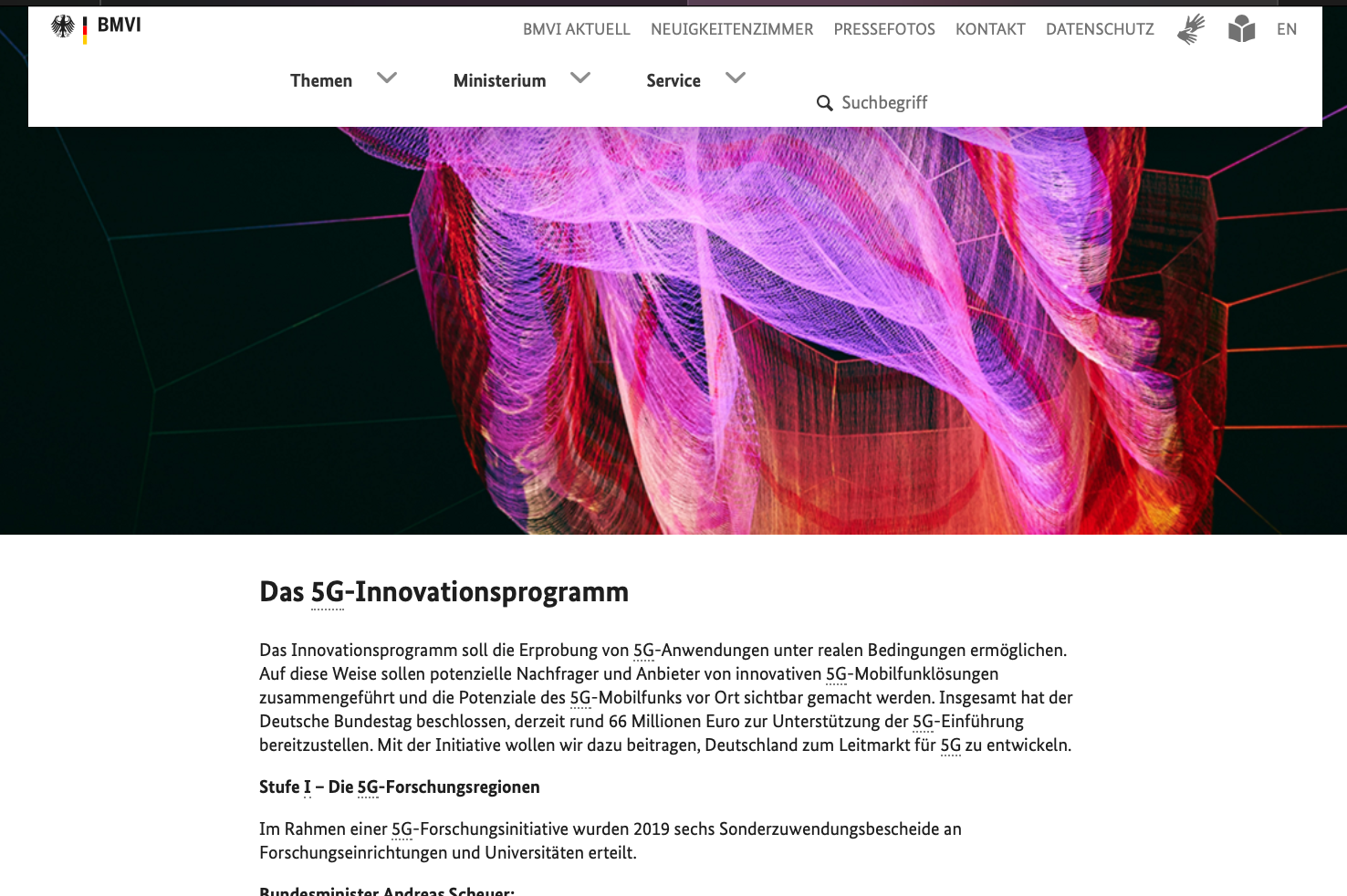 Screenshot Webseite BMVI